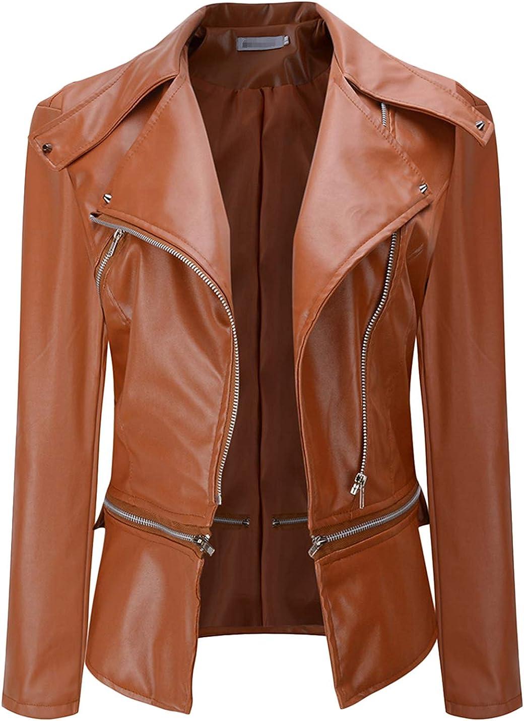 Uaneo Women's Notch Lapel Zip Up PU Leather Short Slim Moto Biker Jacket Coats (Orange, Small)