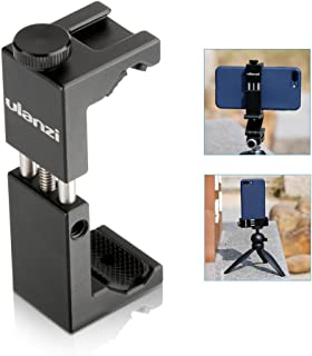 Compatible iPhone Tripod Mount Adapter Cold Shoe - Ulanzi Newest ST-02S Aluminum Metal Cell Phone Tripod Mount, Phone Tripod Adapter, Vertical & Horizontal Smartphone Tripod Mount