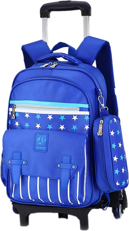 Kinder Roll Pull Rod Rucksack - Leichte Wasserdichte Mdchen Reise Daypack (Hellblau, 6 Rder)