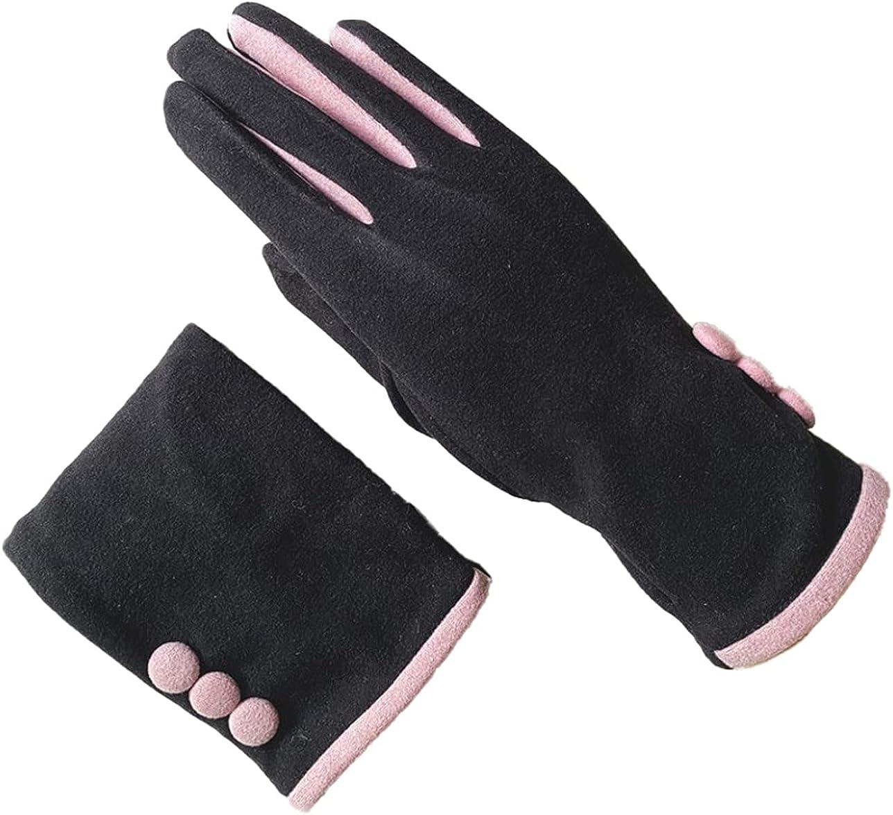 ATHX Women Windproof Fleece Lined Thick Warm Driving Gloves
