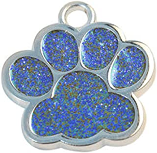 Glitter Paw Pet ID Tags, FunDiscount Paw Print Engraved Stainless Steel Pet Tag for Dogs and Cats Cute Mini Shine ID Name Address Phone Number Tag Collar Necklace Pendant Jewelry Gift (Blue)