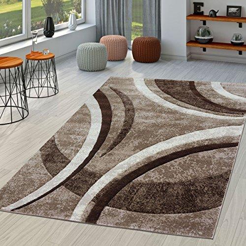 Tappeto per soggiorno, a righe, Moderno con orlo esterno cucito, in marrone, beige e...