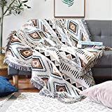 Luxlovery Beige Bohemian Sofa Aztec Throw Blankets Ethnic Woven Boho Geometric White and Khaki Throw Blanket for Couch Aztec Bed Throws Oversized Chair Sofa Cover with Tassels(63'x86')
