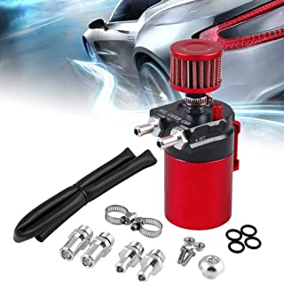 Ruien Universal 350ml Oil Catch Can Tank with Breather Aluminum Compact Dual Cylinder Polish Baffled Engine Air Oil Separator Tank Reservoir Kit Black+Red