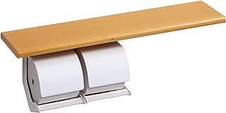 [アウトレット商品] トイレに自然のぬくもりを。棚板付きペーパーホルダーおくだけ(2連式) ハードメイプルタイプ PH-55 在庫限り!奥行133×全長600 (おくだけ:パステルブルー, 棚板色:スノー)