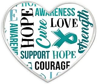 PinMart Teal Heart w/Words Ovarian Cancer Awareness Hope Lapel Pin