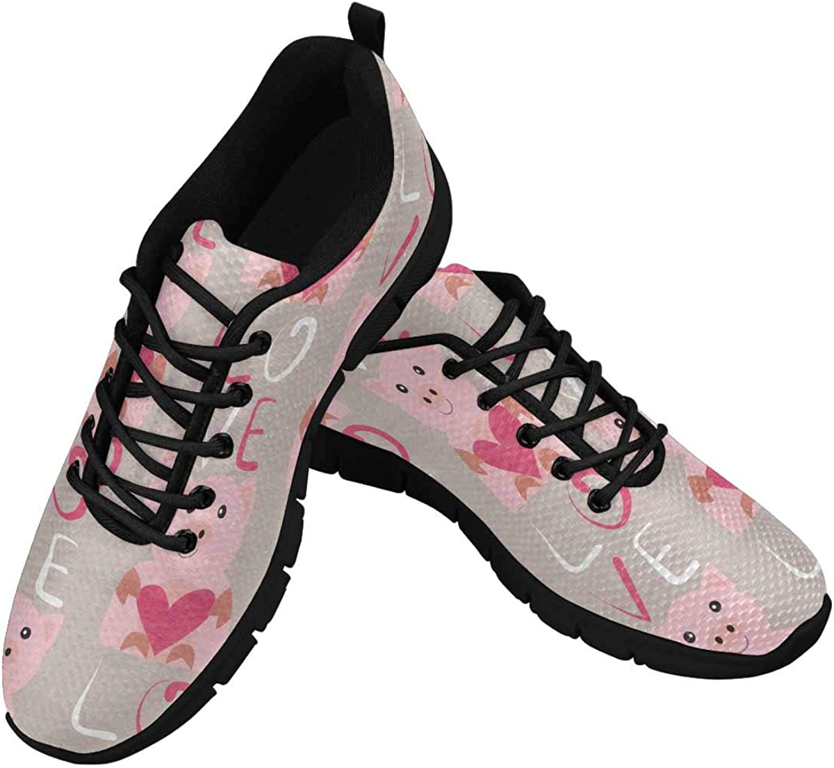 INTERESTPRINT Pig with Heart Pattern Women's Lace Up Running Comfort Sports Sneakers
