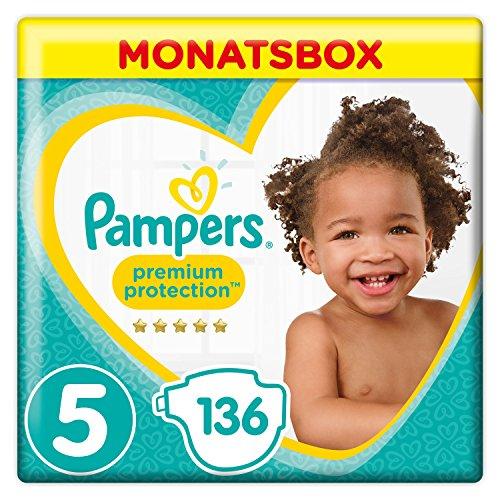 Pampers Premium Protection Windeln, Größe 5 Junior (11-16 kg), Monatsbox, 1er Pack (1 x 136 Stück)