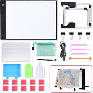 A4 LED Light Pad Light Board Tracing Light Box LED Light Tablet, Dimmable Light Board Kit with Diamond Painting Tools, Stand Holder and Clips, Apply to DIY 5D Diamond Painting Sketching Drawing