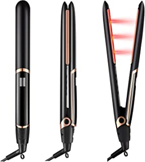 DORISILK Professional Ceramic Flat Iron Infrared Hair Straightener, 2 in 1 Dual Voltage Straightening Iron with Adjustable Temperature Control, 1 inch