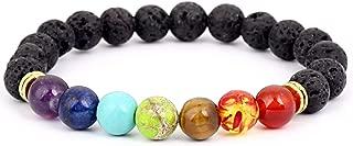 Lava Rock Chakras Diffuser Bracelet Elastic Rope Aromatherapy Essential Oils Natural Stone Yoga Beads