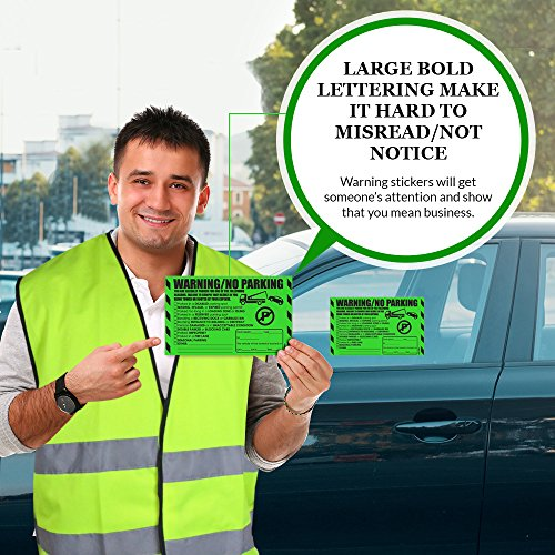 """Parking Violation Stickers for Cars (Fluorescent Green) - 100 Illegal Warning Reserved, Handicapped, Private Parking and More/No Parking Hard to Remove and Super Sticky Tow Warnings 8"""" x 5"""" by MESS Photo #4"""
