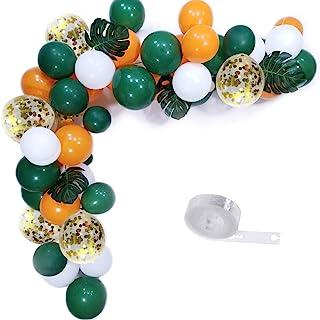 Elepplrty Green White Orange Latex Balloon and Gold Confetti Balloons-Pack100