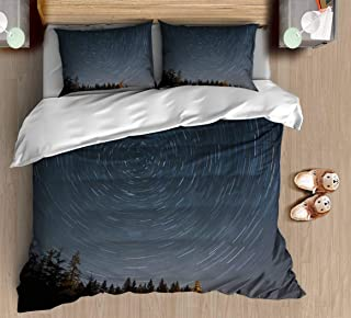 Abstract Unique Printed King Size Bedding Set Star Trail Over Forest Vintage Pattern Duvet Cover Sets with Pillowcase