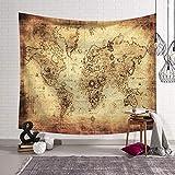 Tapiz Pared de Creativo,Morbuy Mapa del mundo Decoración Tapices Mapa del mundo Impreso Tapicería Cubierta del Sofa Manteles Cortina Picnic Blanket Playa Accesorio Casero (Pequeño (130 x 150 cm), Papel viejo)