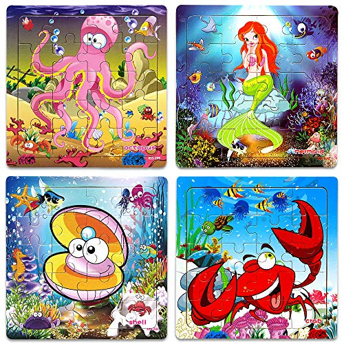 Wooden Jigsaw Puzzles for Kids Age 2-5 Year Old Animals Preschool Puzzles for Toddler Children Learning Educational Puzzle Toys for Boys and Girls (Set of 4 Puzzles)
