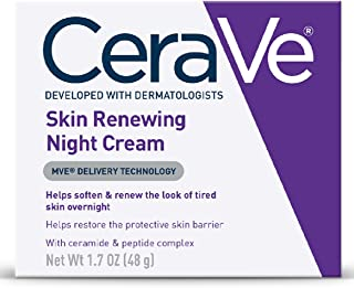 CeraVe Night Cream for Face, Skin Renewing Night Cream with Hyaluronic Acid & Niacinamide, Fragrance Free, 1.7 Ounce