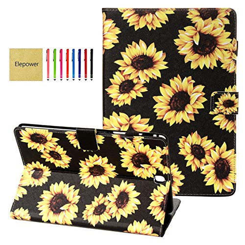 Galaxy Tab A 9.7 Case SM-T550, Elepower Slim Fit Premium PU Leather Folio Stand Wallet Protective Cover with Auto Wake/Sleep for Samsung Galaxy Tab A 9.7 SM-T550/P550 2015 Release, Sunflower