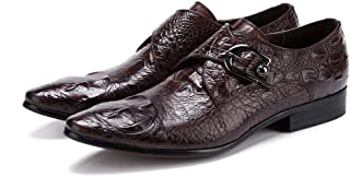 Business Crocodile Textured Single Buckle Oxford Shoes Formal Shoes (Color : Coffee, Size : 41)