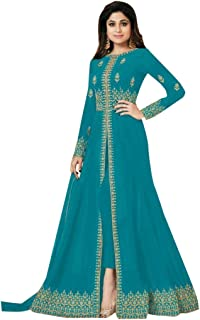 Azure Front Split Pant style Anarkali Designer Georgette Semi-stitched Salwar Suit Ethnic Indian women dress 7640