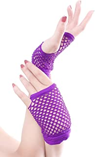 SGJFZD Stretchable Fingerless Neon Fishnet Gloves Sexy Gloves (Color : Purple)