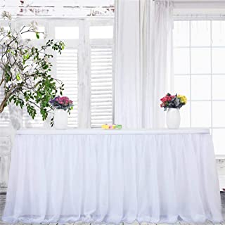 Haperlare 9ft Tablecloth White Tulle Table Skirt Queen Snowflake Wonderland Tulle White Tablecloth Tutu Tablecloth Skirting for Wedding Party Baby Shower Christmas Birthday Banquet Table Decorations
