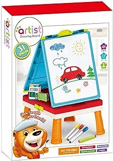 Escrivaninha infantil 2 em 1, cavalete de dupla face, quadro negro, quadro branco, alto com quatro patas, tabuleiro de des...