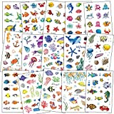 SZSMART Marine life Temporary Tattoos for Kids, Waterproof Fake Body Stickers, Cartoon Fish, Seahorse, seaweed, conch, starfish, coral for Ocean Theme Birthday Party Favors Supplies Set