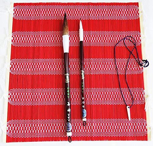筆巻き 竹製 カラー 赤