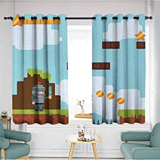 duommhome Video Games Bedroom Curtain Arcade World Kids 90s Fun Theme Knight with Fireball Bonus Stars Coins Image Suitable for Bedroom Living Room Study, etc.72 Wx63 L Multicolor