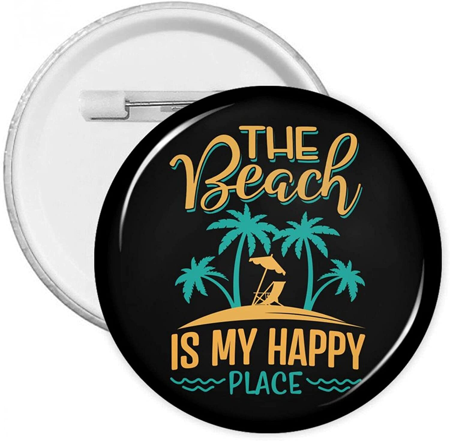 The Fixed price for sale Beach Is My Happy Badges Buckle Place-2 Button Personality Quantity limited