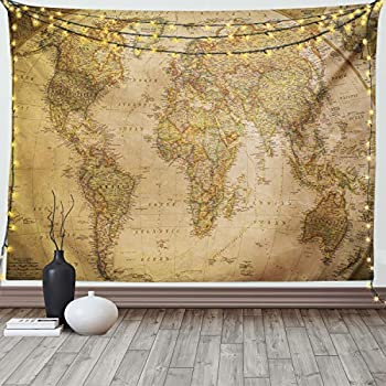 Ambesonne World Map Tapestry Anthique Old World Map in Retro Colors Vintage Nostalgic Design Art Print Wide Wall Hanging for Bedroom Living Room Dorm 80  X 60  Coffee Cream