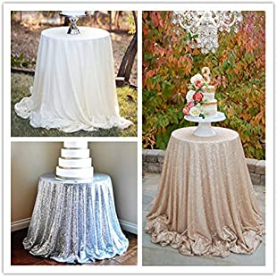 "YZEO 132"" Round Sparkly Wedding Rose Gold Sequin Tablecloth for Wedding Party Banquet 6FT Table:Btc4you"