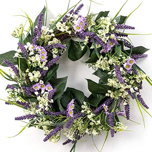 LOHASBEE Flower Wreath, 22' Artificial Lavender Greenery Wreath, Handcrafted Spring Wreath with Green Leaves for Front Door Decorations Wall Decor