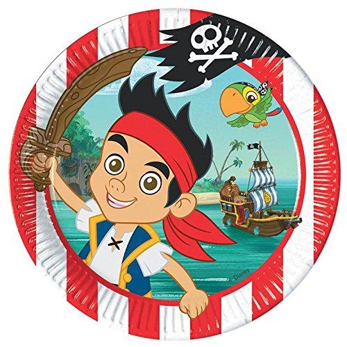 Amscan 80682 - Plato con diseño de Jake y los Piratas (23 cm, 8 unidades)