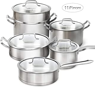 """DUKE'S HOME 18/10 Stainless Steel Cookware Set w/3-Ply Base, 11-Piece Nonstick Pots and Pans Set - 9.5"""" Frying Pan, 2QT/3QT Covered saucepan, 4QT Covered Saute Pan, 7.5QT Stockpot w/ Lid and Steamer"""
