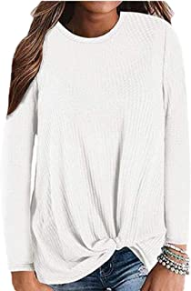 Women's Long Sleeve Casual Twist Knot Waffle Knit Shirts Cute Blouse Tops
