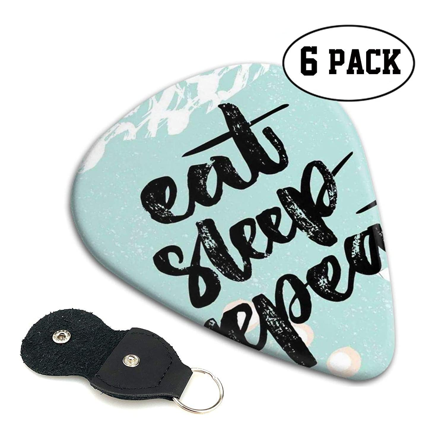 Guitar Picks 6 pcs,Brush Typography Eat Sleep Repeat Funny Message On Grungy Background