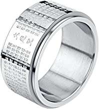 INRENG Stainless Steel Buddhist Rings for Men Engraved Chinese Great Compassion Mantra 11mm Wide Bands