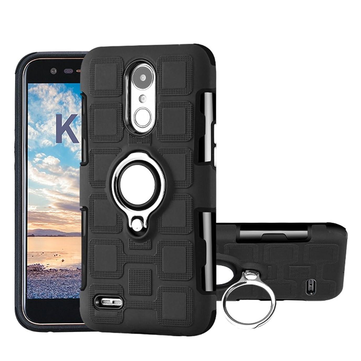 定義するあごハイジャックLG K10 2017 ケース, CHENXI 2 in 1 高品質PC + TPU 耐衝撃吸収カバー 360度 回転 リングホルダー 磁気カーマウント 車載 ホルダーデ 三重保護 多機能 ケース カバー ために LG K10 2017 (European Version) 黒