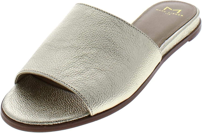 Marc Fisher Womens Wyndi Leather Mini Wedge Slide Sandals