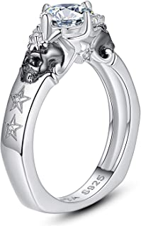 EVBEA Skull Ring Sterling Silver Promise Engagement Wedding Bands Cubic Zirconia Stackable Jewelry Dainty Knuckle Gothic F...