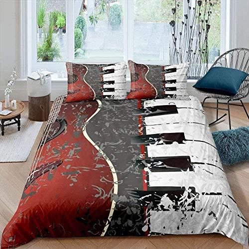 Meimall Juego De Ropa De Cama De 3 Piezas Música Instrumento Piano Guitarra. 280X240 Cm Funda Nórdica Grande 3 Piezas Moderno Reversible Impreso Microfibra Edredón Ropa De Cama Conjunto Cierre