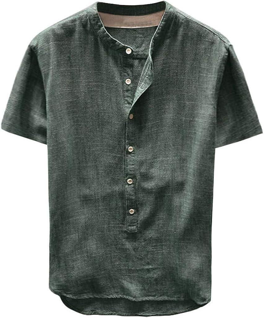 TUSANG Mens Cotton Linen Henley Shirt Casual Short Sleeve T-Shirt Summer Loose Top Blouse