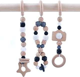 HAO JIE Baby Play Gym Toys - Set of 3 Modern Beech Wooden Teether Baby Activity Gym Hanging Toy Silicone Teething Beads