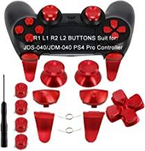 Full Metal Bullet Buttons for PS4 Controller, COCOTOP Aluminium Buttons Thumbsticks Thumb Grip, ABXY Buttons, D-pad, L1 R1 L2 R2 Trigger Buttons for PS4 PS4 Slim PS4 Pro Controller (JDS-040-Red)