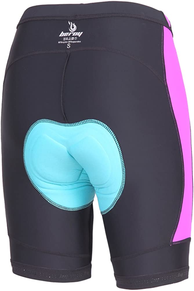 beroy Womens 3D Gel Padded Bike Shorts with Side Pockets for 5.5 Mobile Phone,1.57inches High Waistband Girls Cycling Shorts