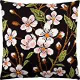 Cherry Blossoms. Needlepoint Kit. Throw Pillow 16×16 Inches. Printed Tapestry Canvas, European Quality