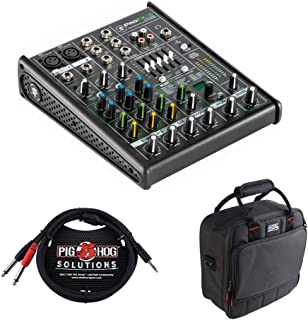 Mackie ProFX4v2 4-Channel Sound Reinforcement Mixer with G-MIXERBAG-1212 Padded Nylon Mixer/Equipment Bag & PB-S3410 3.5 mm Stereo Breakout Cable, 10 feet Bundle