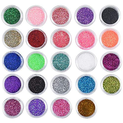 Chstarina 24 Scatole Glitter per Unghie, Polvere per Unghie, Nails Art Glitter Metallic Manicure Pigmento Holographic Pigmento, Glitter Cosmetici per Nail Art Viso Corpo Occhi